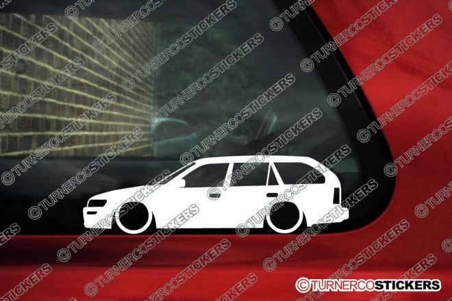 2x Low car outline stickers Toyota Corolla AE102 wagon (E100 1992-1998) JDM